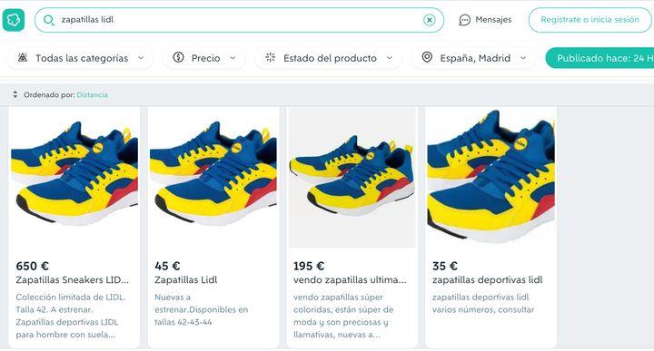 Precios de las zapatillas de Lidl en Wallapop.