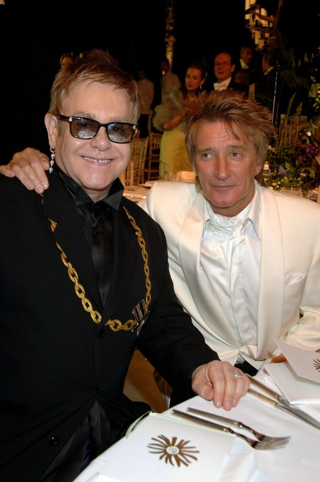 Sir Elton John and Rod Stewart pictured in