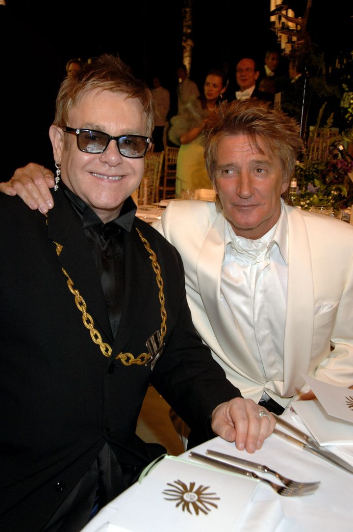 Sir Elton John and Rod Stewart pictured in 2007