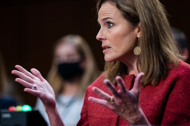 Supreme Court nominee Amy Coney Barrett speaks during a confirmation hearing before the Senate Judiciary Committee, Tuesday,