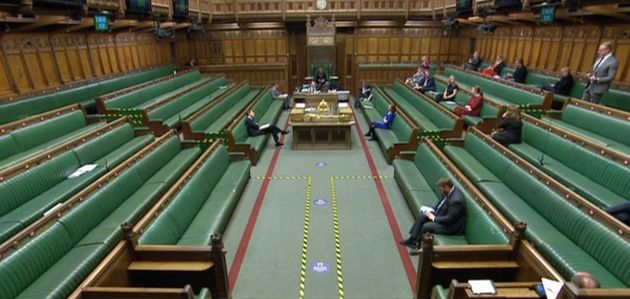 Empty Tory benches during the