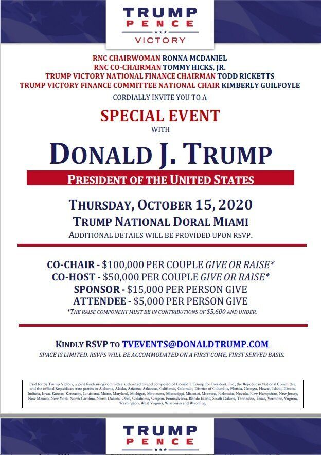 President Donald Trump is hosting a fundraiser at his own golf course in South Florida on Thursday, per this invitation obtai