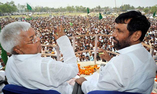 Ram Vilas Paswan with Rashtriya Janata Dal chief Lalu Prasad Yadav in a file