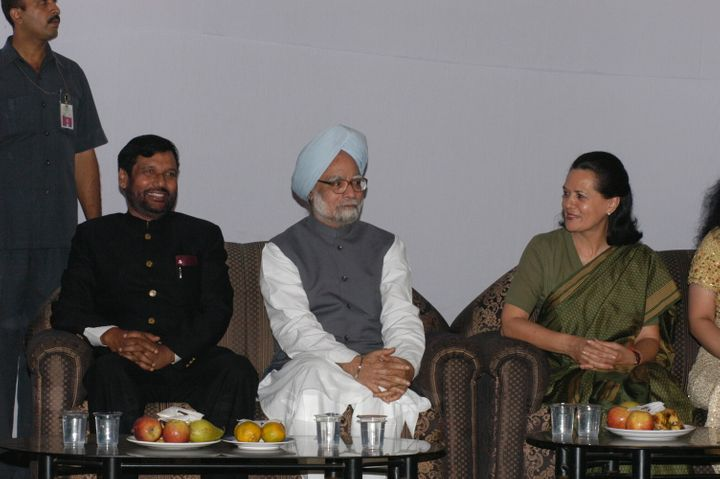 Sonia Gandhi, President of AICC with Manmohan Singh, former Prime Minister of India and Ram Vilas Paswan in a file photo