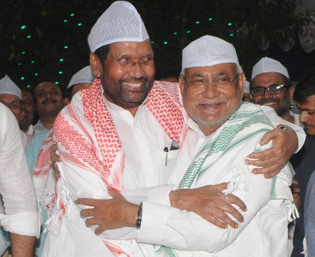 Chief Minister of Bihar Nitish Kumar with Ram Vilas Paswan in a file