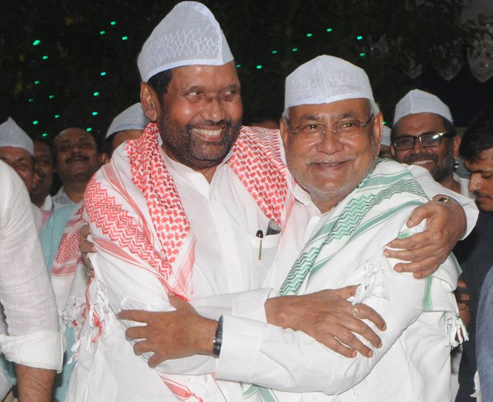 Chief Minister of Bihar Nitish Kumar with Ram Vilas Paswan in a file photo