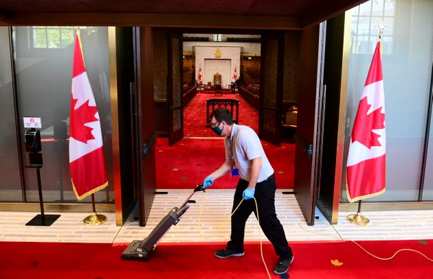 Final preparations are made to the Senate in advance of the throne speech in Ottawa on Sept. 23,