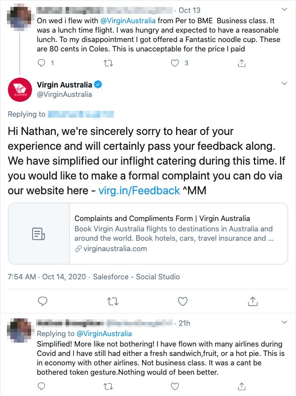 "A customer who took a domestic business class flight from Perth to Brisbane branded his Virgin Australia meal as ""unacceptable""."