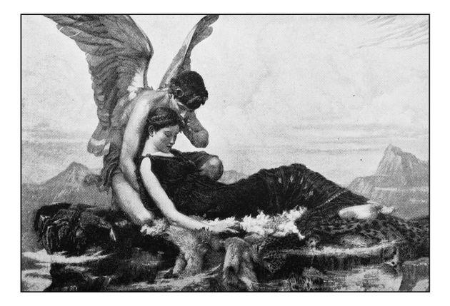 Dibujo antiguo de Orfeo y