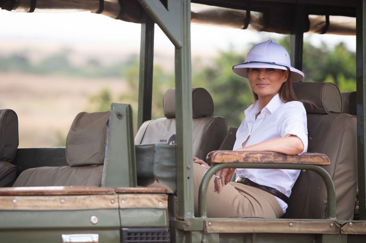 First lady Melania Trump travels in a vehicle while on a safari at The Nairobi National Park in Nairobi on Oct. 5, 2018.