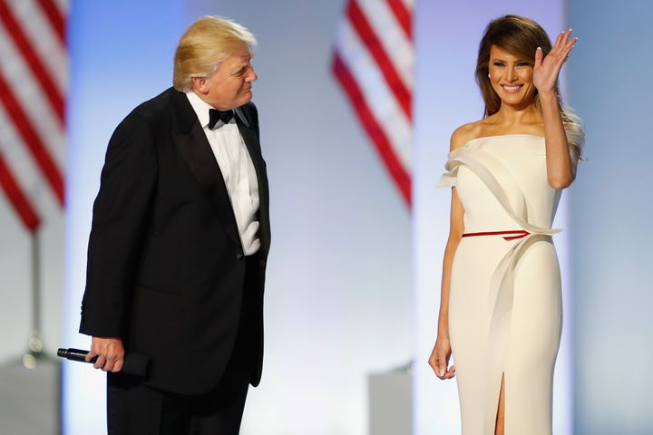 President Donald Trump introduces first lady Melania Trump at the Freedom Inaugural Ball at the Washington Convention Center, Jan. 20, 2017.
