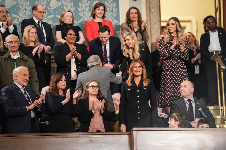 Melania Trump wears a Burberry dress at the State of the Union address on Feb. 5, 2019.