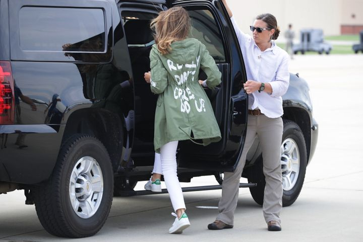 "Melania Trump climbs into her motorcade wearing a jacket that says ""I Don't Really Care, Do U?"" after traveling to Texas to visit facilities that house children taken from their parents at the U.S.-Mexico border June 21, 2018."