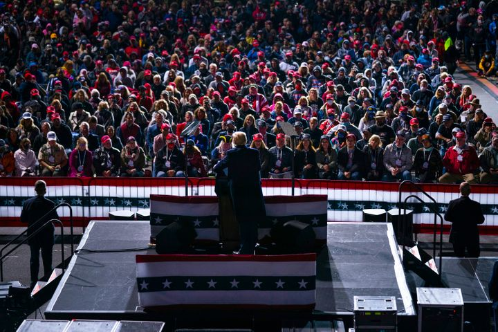 President Donald Trump at a campaign rally Tuesday in Johnstown, Pennsylvania. About 78% of white evangelicals told Pew they