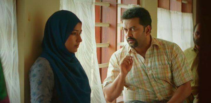 Grace Antony and Indrajith in a still from'Halal Love Story'.