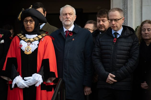 (Front, left to right) Rakhia Ismail with then-Labour leader and Islington North MP Jeremy Corbyn and...