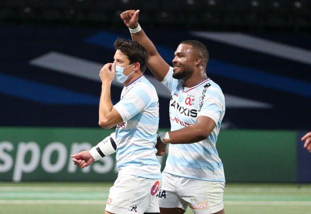 François Trinh-Duc et Hassane Kolingar du Racing 92 après leur victoire en demi-finale...