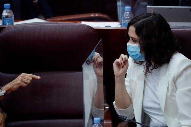 La presidenta de la Comunidad de Madrid, Isabel Díaz Ayuso, este jueves 15 de octubre en la Asamblea...