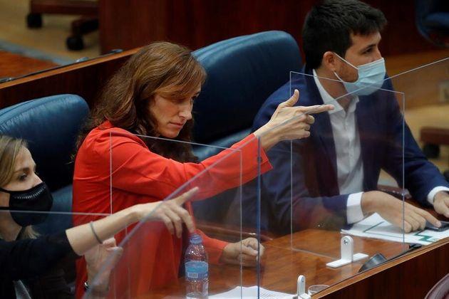 La portavoz de Más Madrid en la Asamblea regional, Mónica García, dispara al consejero de Hacienda, Javier
