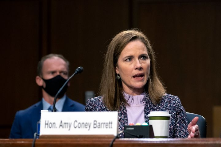 Supreme Court nominee Amy Coney Barrett testifies during the third day of her confirmation hearings before the Senate Judicia