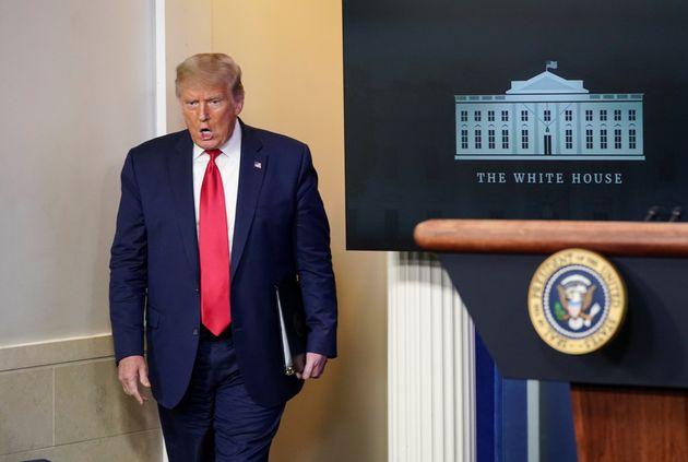 El presidente de Estados Unidos, Donald Trump, en la sala de prensa de la Casa