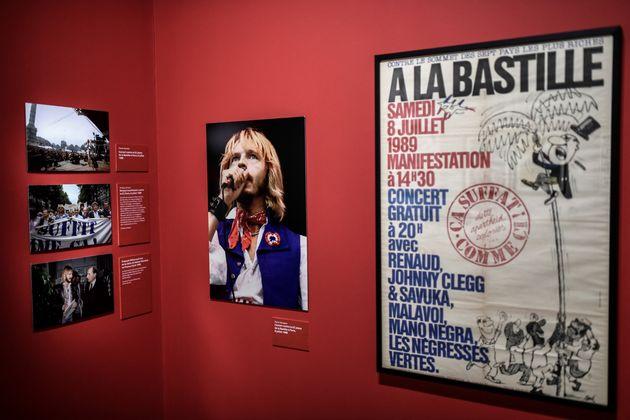 Photographies et affiche exposées pour la retrospective sur Renaud. (Photographie de Stéphane de Sakutin...