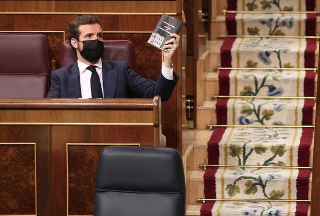 Pablo Casado, líder del PP, en el Congreso de los