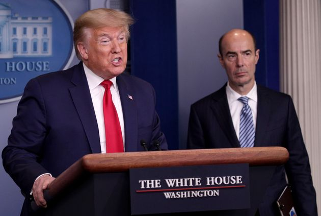 Trump with Labor Secretary Eugene Scalia during an April briefing by the coronavirus task force. Scalia...