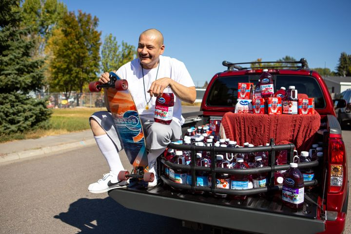 TikTok star Nathan Apodaca, aka 420doggface208, poses after being gifted a truck by Ocean Spray on Oct. 6 in Idaho Falls, Idaho.