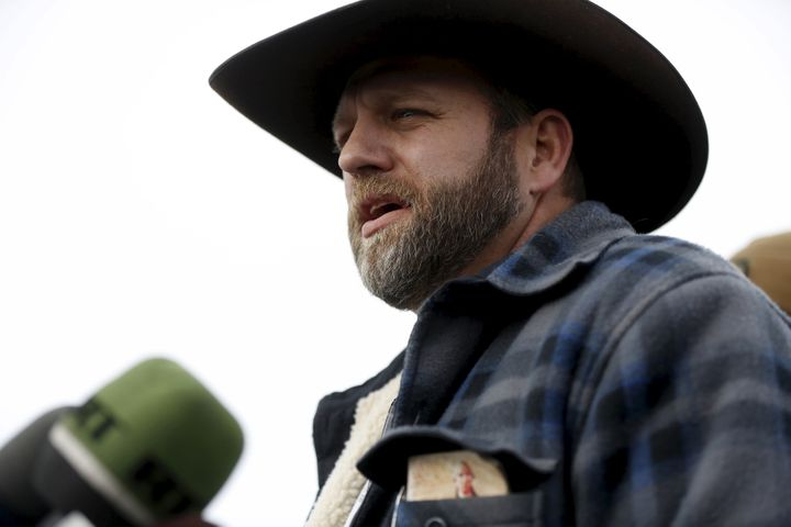 Ammon Bundy addresses the media at the Malheur National Wildlife Refuge near Burns, Oregon in January 2016, after a group of anti-government militia members took over the refuge headquarters. A copy of the annotated U.S. constitution, published by the religious group National Center for Constitutional Studies, can be seen in his jacket pocket.