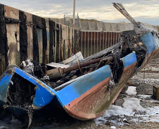 Robert Syliboy's lobster fishing boat is shown after being destroyed by a fire in this Oct. 5, 2020 handout