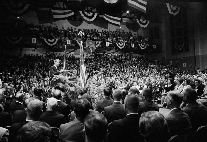 Robert Kennedy speaks at a rally during his 1968 campaign for the Democratic Party's presidential nomination.