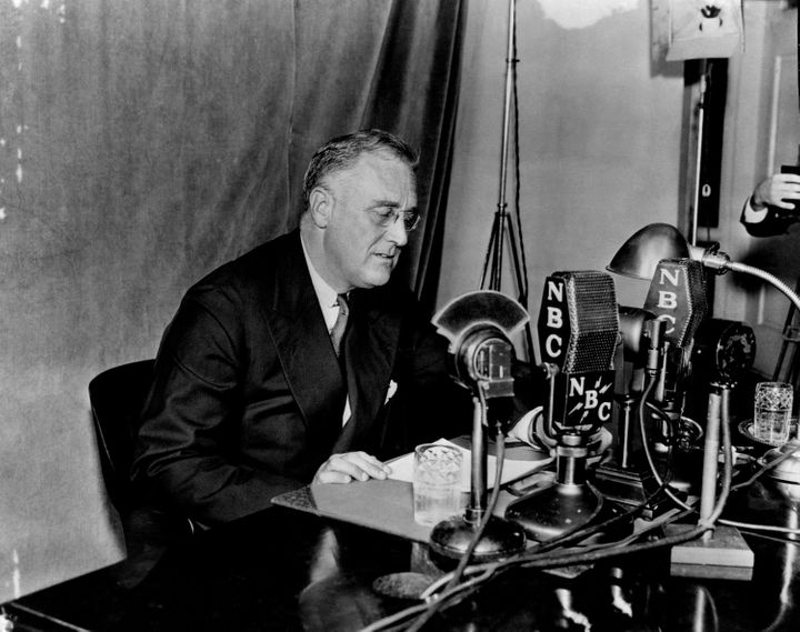 "President Franklin Roosevelt delivers one of his ""fireside chats"" broadcast on NBC Radio."
