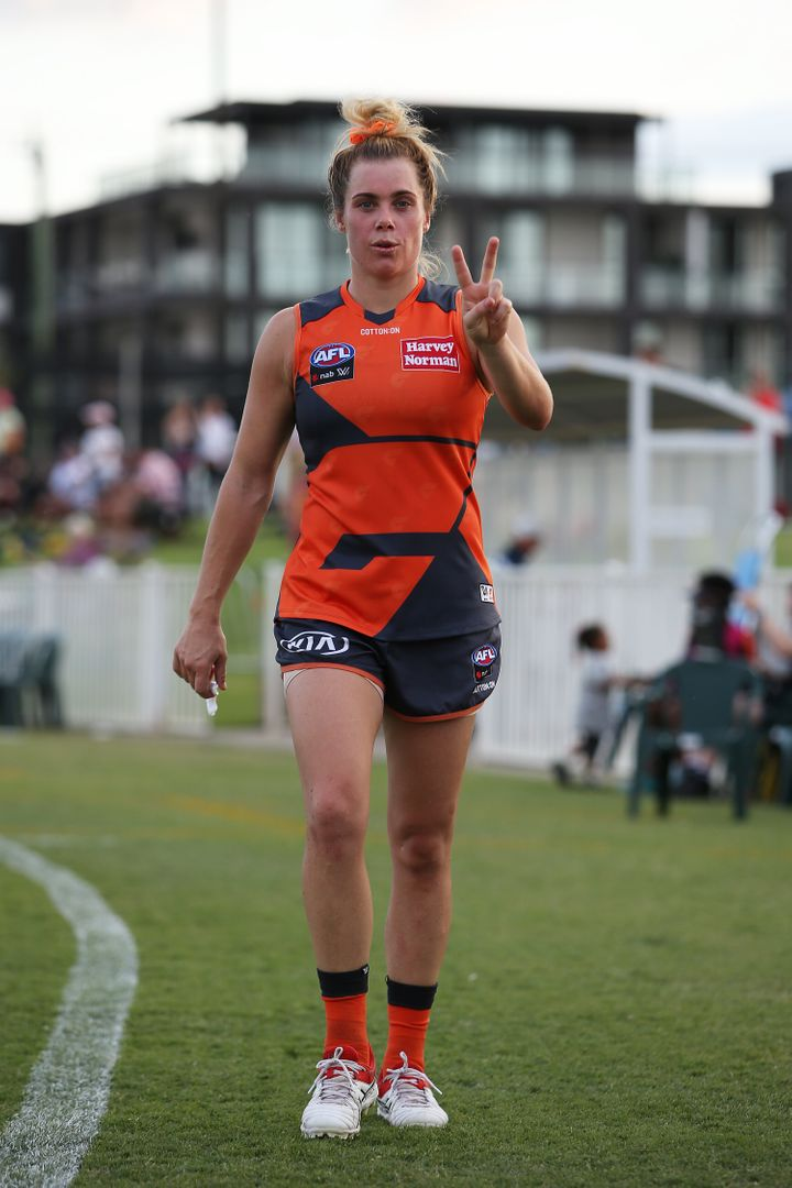 Jacinda Barclay was found dead at her home near Perth on Monday. The Greater Western Sydney Giants player is shown here at Robertson Oval on March 7 in Wagga Wagga.