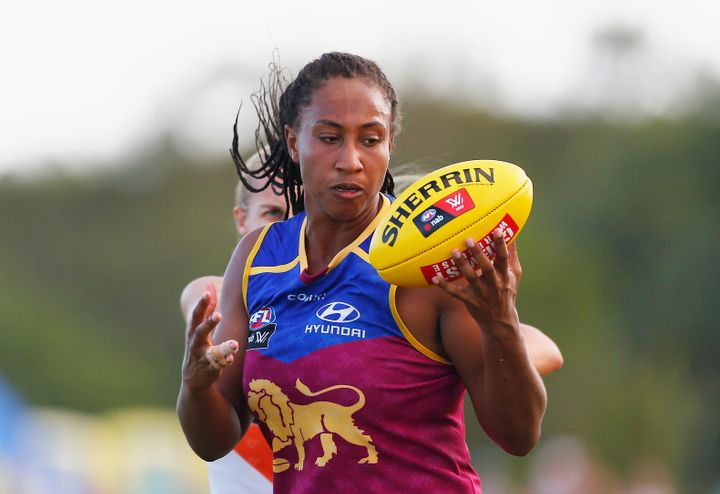 """Sabrina Frederick,shown here at Brisbane's South Pine Complex in February 2017 playing for her former team Brisbane Lions, has spoken about the """"heartbreaking"""" death of fellow AFLW player Jacinda Barclay."""