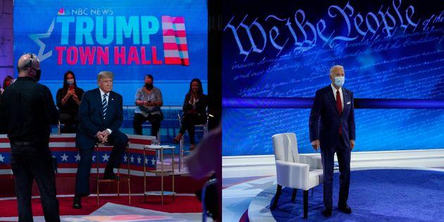 Donald Trump y Joe Biden, en sus 'town hall' de