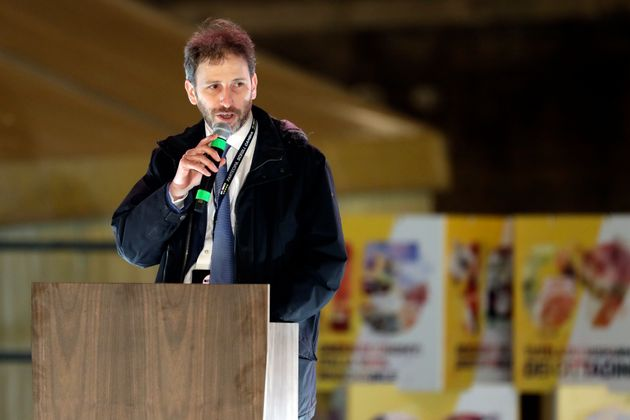 Davide Casaleggio speaks at Five-Star Movement (M5S) party's final rally in Rome, Friday, March 2, 2018....