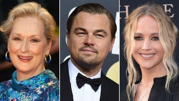 Meryl Streep, Jennifer Lawrence y Leonardo DiCaprio.