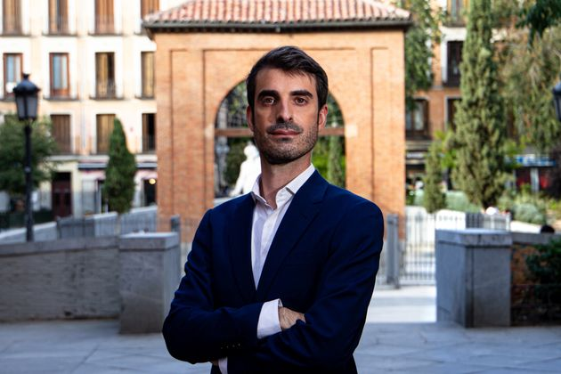 Pablo Simón, en la plaza del Dos de Mayo