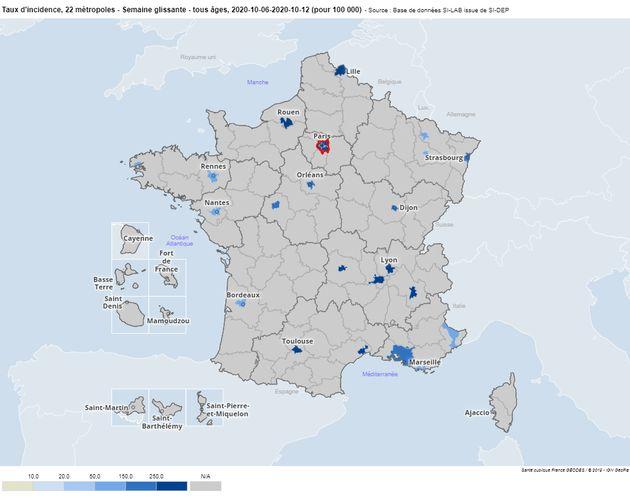 Santé Publique France a publié ce jeudi 15 octobre l'évolution du taux d'incidence...