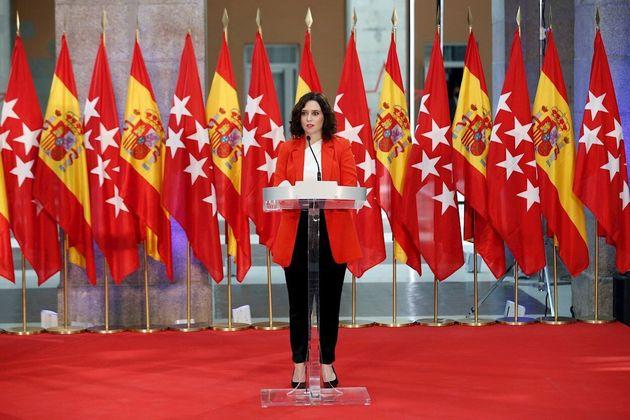 La presidenta de la Comunidad de Madrid, Isabel Díaz Ayuso, el pasado 21 de septiembre en la Puerta del