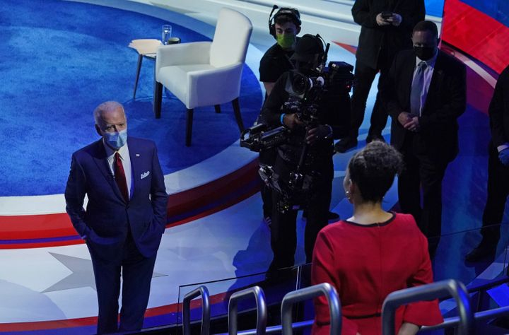 Democratic presidential candidate Joe Biden answers a question from a voter after an ABC town hall event on Oct. 15.