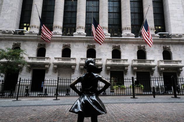 La estatua de'La niña sin miedo' frente a la Bolsa de Nueva