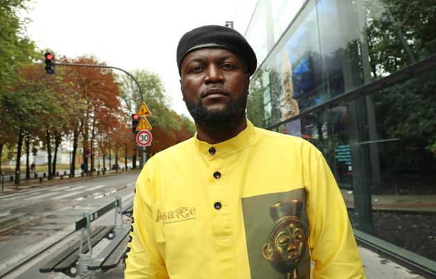 Congolese activist Mwazulu Diyabanza poses in front of the Quai Branly Museum-Jacques Chirac, a museum...