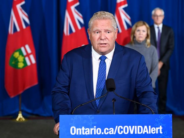 Ontario Premier Doug Ford holds a press conference in Toronto on Oct. 2,