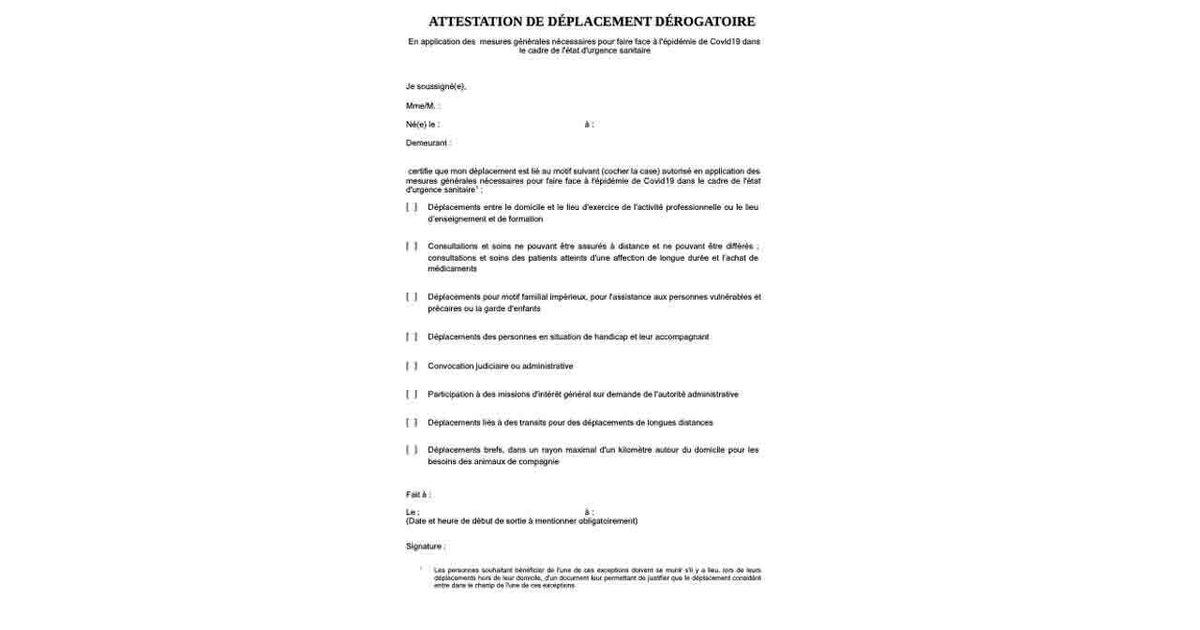 Couvre Feu L Attestation De Sortie A Telecharger Pour 54 Departements Le Huffpost