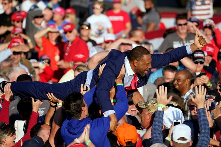 Georgia state Rep. Vernon Jones crowd surfed during a campaign rally for President Donald Trump at Middle Georgia Regional Ai