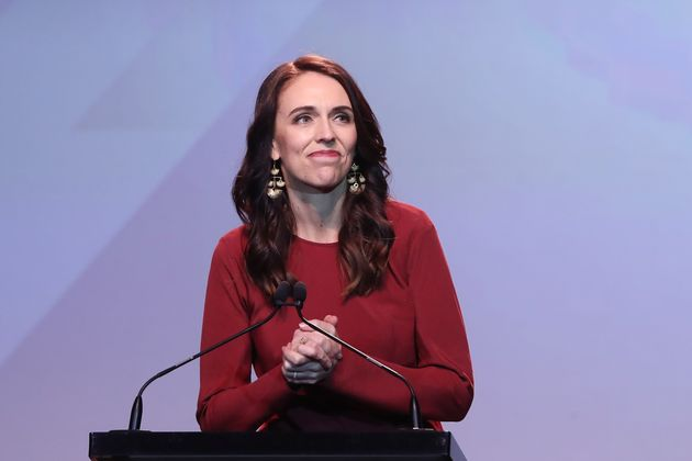 New Zealand Prime Minister Jacinda Ardern speaks at the Labour Election Day party after the Labour Party...
