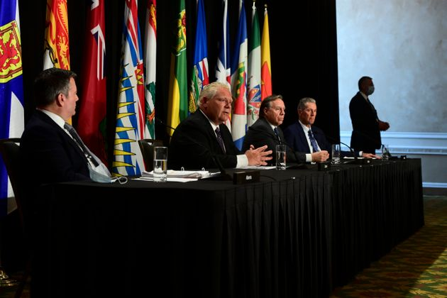 Ontario Premier Doug Ford, second left, speaks as Alberta Premier Jason Kenney, Quebec Premier Francois...