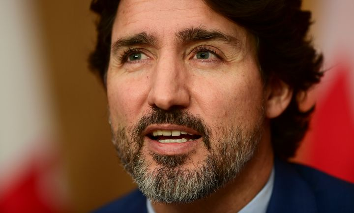 Prime Minister Justin Trudeau takes part in a press conference during the COVID pandemic in Ottawa on Friday.